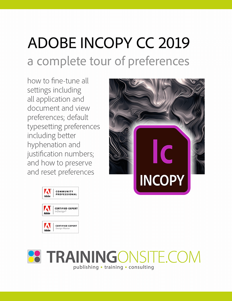 InCopy CC 2019 tour preferences