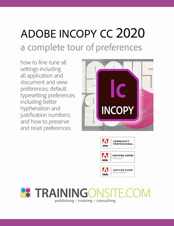InCopy CC 2020 tour preferences