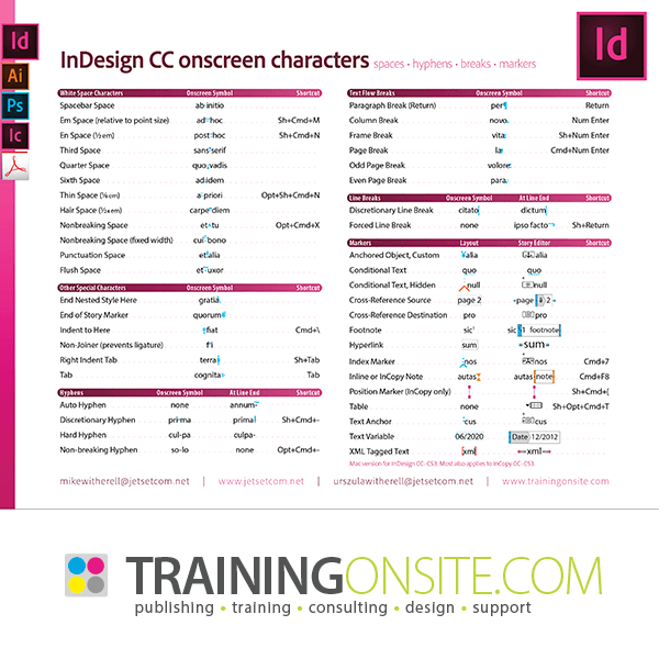 InDesign CC onscreen characters