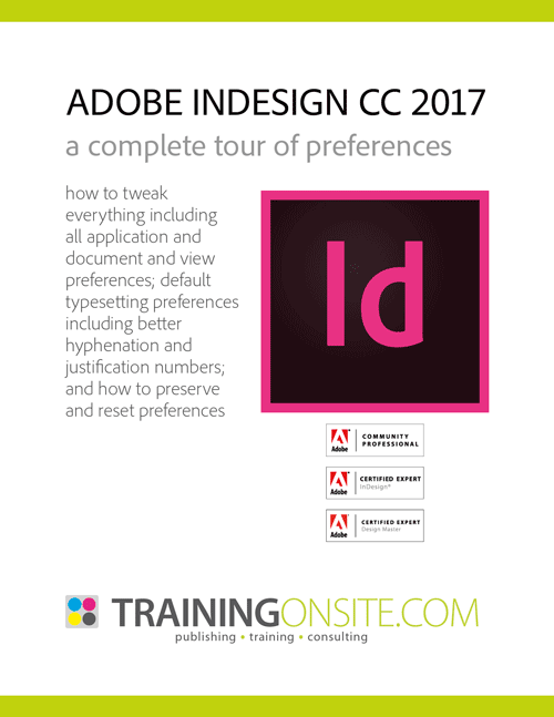 InDesign CC 2017 tour preferences