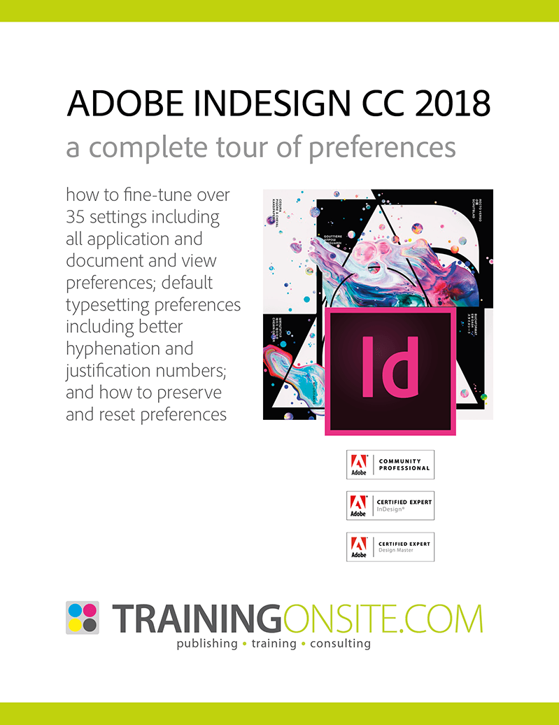 InDesign CC 2018 tour preferences