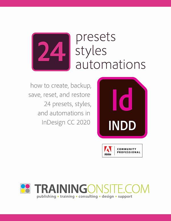 InDesign 2020 presets styles automations