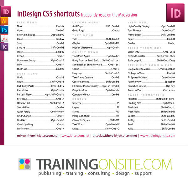 InDesign CS5 keyboard shortcuts