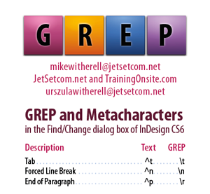 InDesign CS6 GREP and Metacharacters for hand-held devices