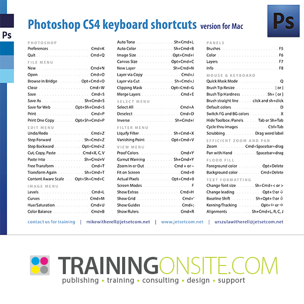 Photoshop CS4 common keyboard shortcuts